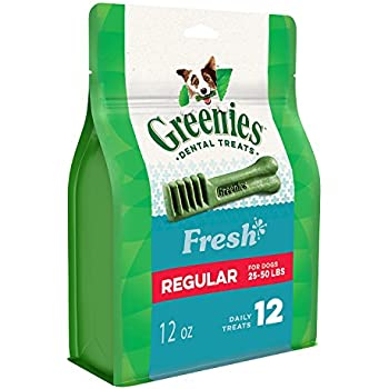 Greenies Dental Dog Treats, Regular Size, Freshmint Flavor (12 Treats 12 Ounces) Greenies Dog Dental Chews: For Clean Teeth and Healthy Gums