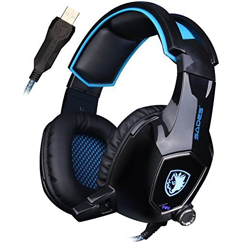 SADES AW50 Gaming Headset mit Bügel-Mikrofon Stereo Sound USB 2.0 Vibration Module Schalldämmung Auflagen für PC und MAC (schwarz)