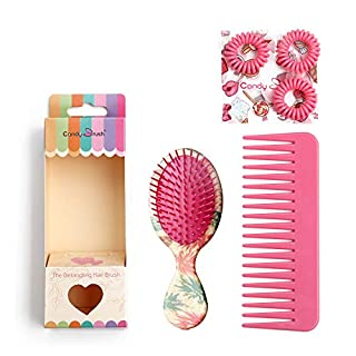 Pro Detangle Hair Brush Set and Hair Comb,Eco-friendly Materials, Cute Pineapple hair straightenning brush (Small Size)