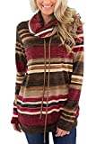 Yknktstc Womens Sweatshirt with Pockets Long Sleeve Cowl Neck Casual Striped Pullover Top Medium 02 Red