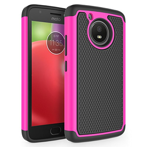 Moto E4 Case, SYONER [Shockproof] Defender Phone Case Cover for Motorola Moto E 4th Generation (USA Version) [Hot Pink]