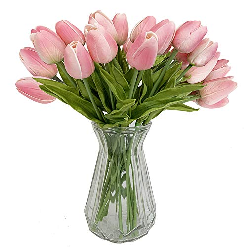 Packozy 20 pcs PU Real-Touch Artificial Tulip Flowers 13.4 for Home Wedding Party Decor (Pink)