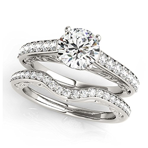 14K White Gold Unique Wedding Diamond Bridal Set Style MT50810