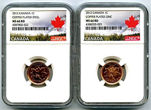 2012 Royal Canadian Mint Canada TWO COIN COPPER PLATED STEEL AND ZINC SET Last Year Of Issue LANDSCAPE LABEL NGC MS66