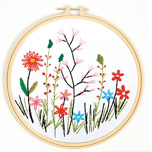 Floral Cross Kit - Stamped Cross Stitch Kits for Beginner - Buytra Embroidery Starter Kits Including Embroidery Cloth with Printed Floral Pattern, Embroidery Thread, 8-inch Plastic Hoop, Embroidery Needles and More