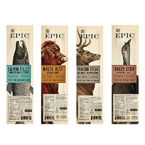 (Epic Snack Strips, Paleo Jerky: Wagyu Beef, Turkey Cranberry, Venison Salt and Pepper Steak, Smoked Salmon Maple (4 Pack Sampler))