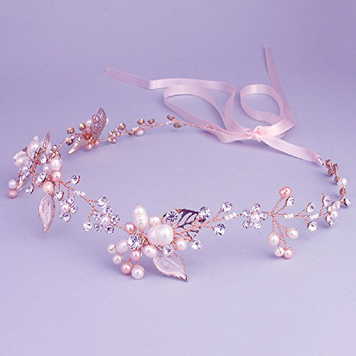 Ammei Bridal Crystal Headband with Freshwater Pearls Flower Design Wedding Hair Accessories (Rose Gold)