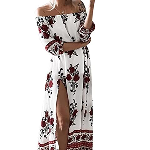 KESI Off Shoulder Casual Dresses for Women Floral Printed Split Maxi Long Beach Dress White XL (Floral Wrap Around Watch)