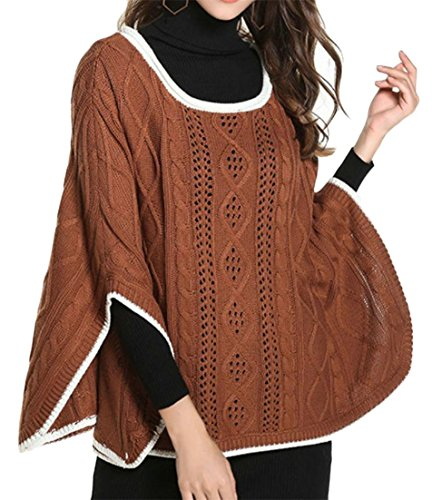 Joe Wenko Womens Tops Round Neck Batwing Sleeve Poncho Hollow Out Colorblock Ribbed Knitted Sweaters Camel One-Size