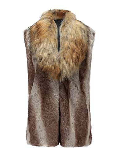 Idopy Winter Men`s Faux Fur Coat Vest Gilet Sleeveless Jacket US L Asian -
