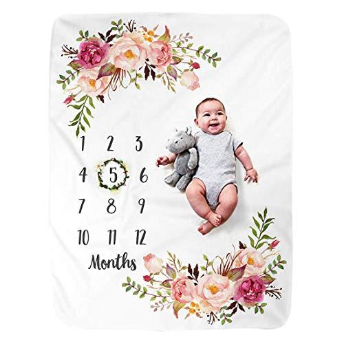 Blumen-01 150x100cm JMITHA Baby Monats Decke Neugeborene oenbopo Baby Monatliche als Foto Hintergrund mit Meilenstein-Druckmuster