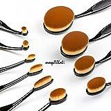 Maquillali Nuevo diseño Brocha Oval Profesional de Maquillaje con Mangos Negro