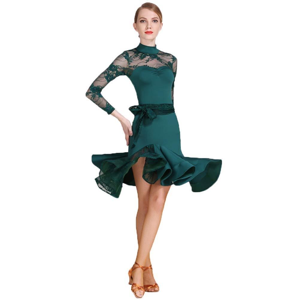 【一部予約!】 ラテンダンスのドレス女性の大人の国家標準のダンスドレスレーススプライス長袖ハイネックアートコンテストコンペティションダンス衣装 B07QK9SQN6 グリーン B07QK9SQN6 L グリーン l l, 中種子町:44a0b7aa --- a0267596.xsph.ru