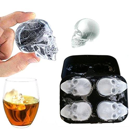 ksbro Molde de silicona de grado alimenticio para hacer cubitos de hielo 3D, diseño de calavera, también para tartas, galletas, helado, Chocolate, jalea etc.