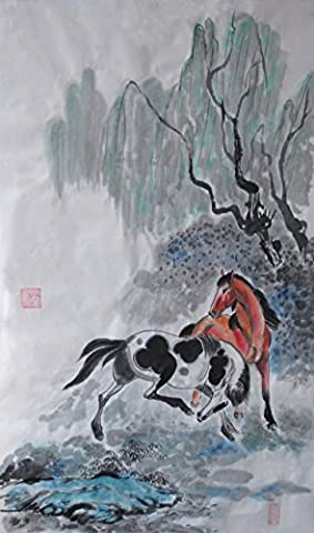 Traditional Oridental Art Hand Painted Chinese Brush Ink Watercolor Painting on Rice Paper Horse Signed Decorations Decor for Office Living Room Bedroom 26.7