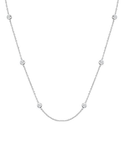 Diamond Wish Sterling Silver Diamond by The Yard Simulated CZ Station Necklace with 18-inch Adjustable Cable Chain