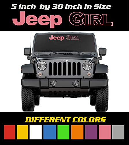 6 to 8 Year Outdoor Life Different Colors 5 inch by 30 inch Jeep Girl Windshield Banner//Decal//Sticker//Emblem//Graphic