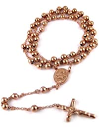 14k ROSE GOLD FINISH MENS ROSARY CHAIN NECKLACE CROSS