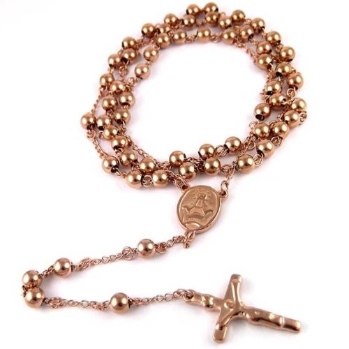 14k ROSE GOLD FINISH MENS ROSARY CHAIN NECKLACE (Rosary Necklace Rose Gold)