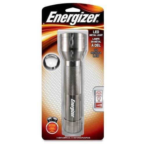 Energizer LED Metal Flashlight, w/Batteries, 2D, 42 Lumens, Silver (ENML2DS)