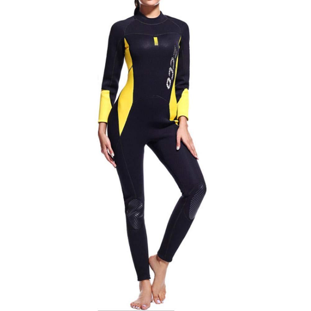 Combinaison compl/ète de plong/ée en n/éopr/ène pour femmes 3MM siamois de plong/ée en apn/ée de surf v/êtements /épaissie chaude maillot de bain hiver /à manches longues pour le surf kayak f/émini
