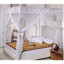 Elegant White Four Corner Square Princess Bed Canopy Mosquito Netting (Full/Queen)