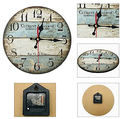 Silent Non-Ticking Wooden Decorative Round Wall Clock 12 Inch Rustic Farmhouse Clock Wall Decor for Living Room Kitchen…