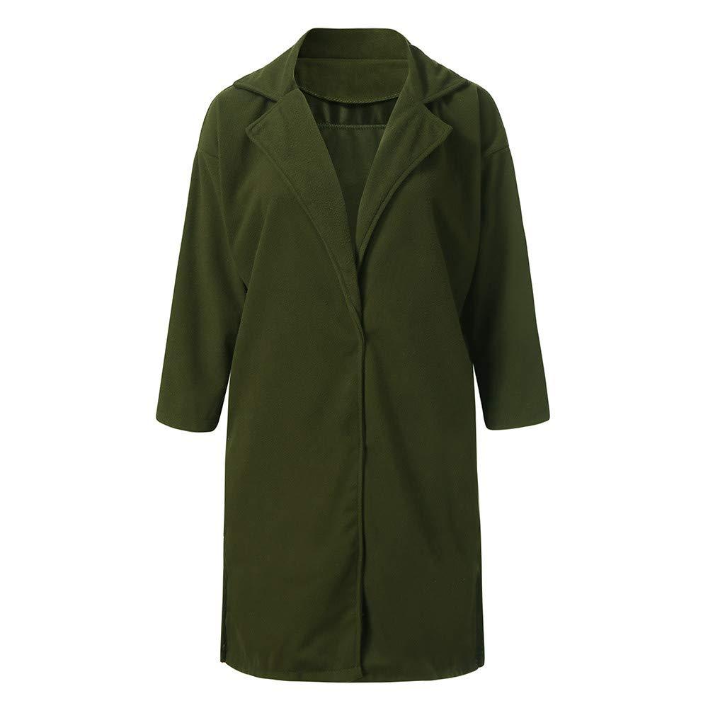Damen Wollmantel Wolle Dufflecoat Lang Elegant Parka Gr/ün Herbst Winter Warm Modern Coat mit Leistentaschen Langarm Winterjacke Wolle Trenchcoat Mantel Daunenjacke Mode Outwear