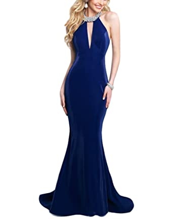 DreHouse Womens Beaded Hater Backless Velvet Mermaid Prom Dresses Evening Formal Dress 2018