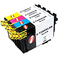 4 Pack INK4WORK 288XL Remanufactured Ink Cartridge Replacement for Epson T288XL T288 XL Expression XP-330 XP-340 XP-430 XP-434 XP-440 XP-446 Printers (4 Pack- B/C/M/Y)