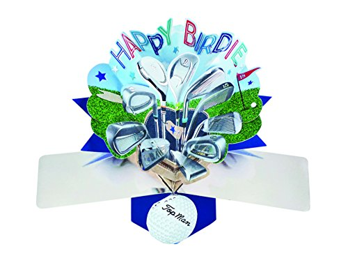 Happy Birthday Golf - Second Nature Pop Ups Birthday Pop up Card Happy Birdie Golf Clubs