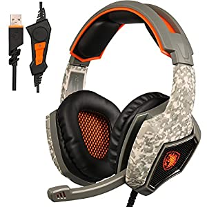 [2016 Upgraded Version] SADES SA917 USB Stereo Gaming Headset, Wired Over-Ear PC MAC Headphones with Mic Revolution Volume Control Noise Isolation LED Light