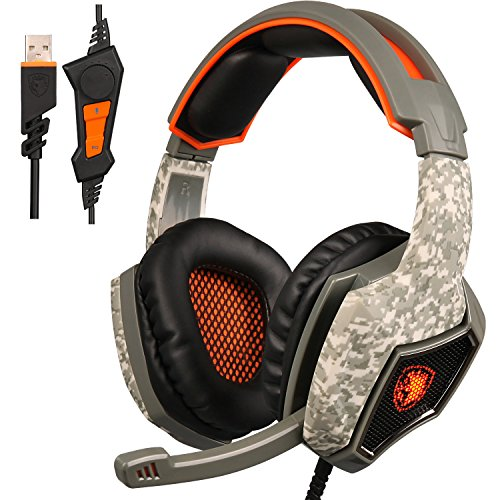 ECOOPRO Stereo USB Gaming Headset with Microphone- Over Ear & Noise Cancelling Headphones - Volume Control & LED Lights for PC, MAC (Astro A40 Xbox One Halo)