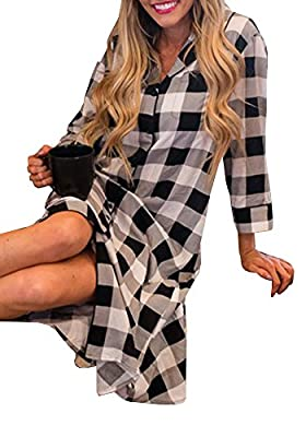 Coutgo Women's Long Tartan Plaid Shirt Night Shirt sleepwear Blouse