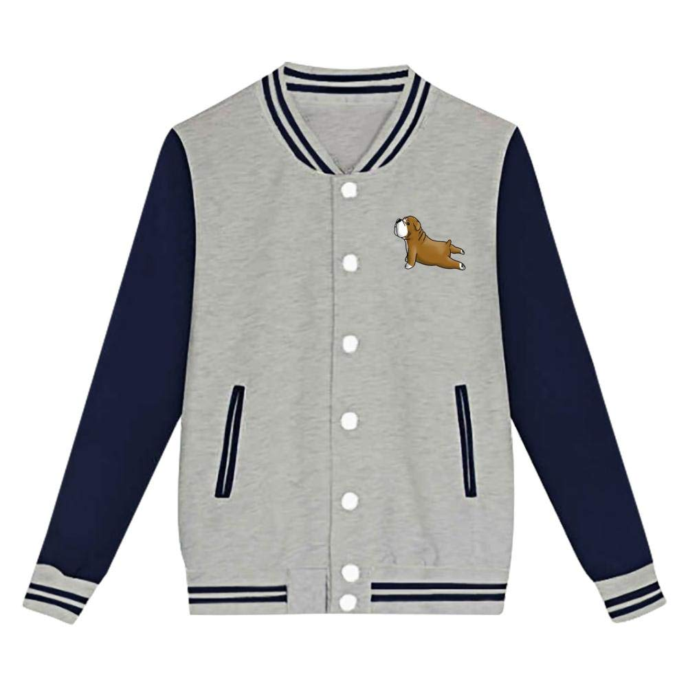 XiuHongShangMAo French Bulldog Yoga Baseball Jacket Uniform Hoodie Sweatshirt Sweater Tee for Boys and Girls