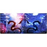 Ruifengsheng Large Gaming Mouse Pad,Extra Large Size Mat,Extended XXL Size Mouse Pad, Non-Slippery Rubber Base,(Edge Stitched) (35.4'' 15.7'') (90x40 Two Dragon05)