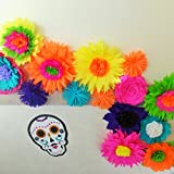 Flower Garland Bright Beautiful Colors Mexican Fiesta 12 Unique Crepe Paper Flowers