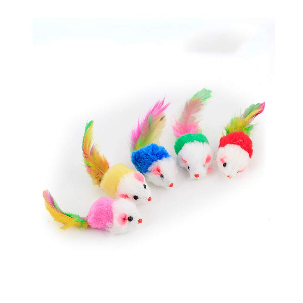 Potelin Pack of 5 Furry Kitten Mice Cat Toys with Feathers and Fur