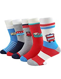 SUNBVE Baby Toddler Little Boys' Fashion Cotton Crew Socks 5 Pack