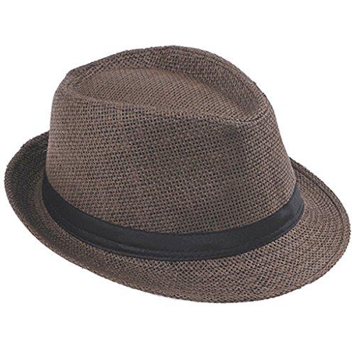 efaef683f7c Handwork Women Summer Straw Sun Hat Boho Beach Fedora Trilby Men Panama Jazz  Hat at Amazon Women s Clothing store