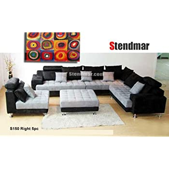 5pc Multifunction 2 Tone Microfiber Big Sectional Sofa Set S150RBG