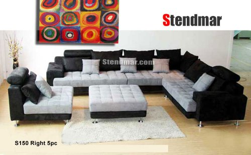 (5pc Multifunction 2-tone Microfiber Big Sectional Sofa Set S150RBG)
