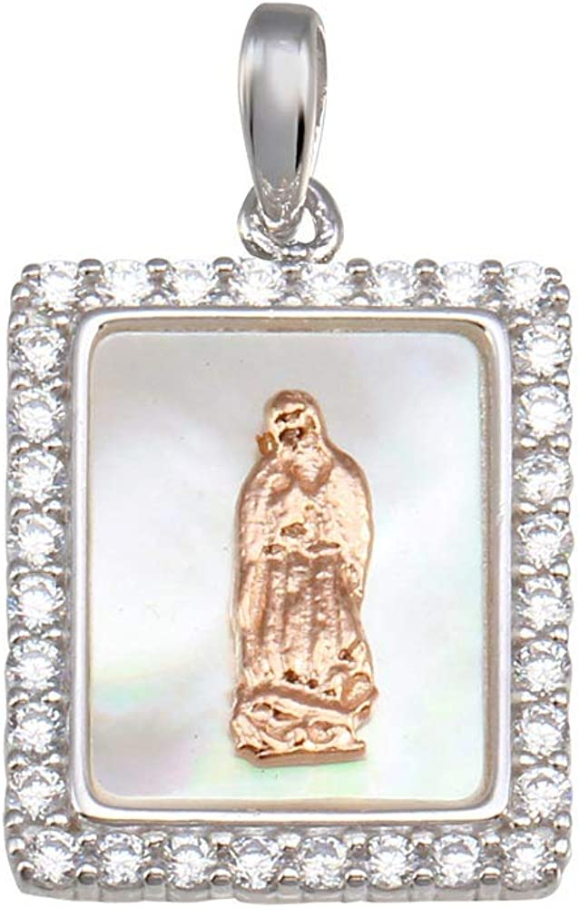SURANO DESIGN JEWELRY Sterling Silver Virgin Mary Two Tone Medallion Pendant w//Mother of Pearl /& CZ