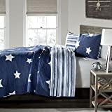 Kids Twinkle Stars Quilt 2 Piece Set Twin, Sky Stars Print Pattern, Patriotic Novelty Design, Amazing Quality, Solid Color Geometric Patchwork Background, Reversible Bedding, Dark Navy Blue