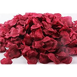 Ballg 5000 Slice Wine Red Silk Rose Petals Artificial Flower Wedding Party Vase Home Decor Bridal Petals Rose Favors