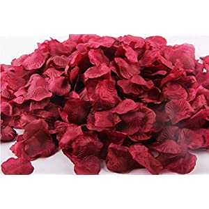 Ballg 5000 Slice Wine Red Silk Rose Petals Artificial Flower Wedding Party Vase Home Decor Bridal Petals Rose Favors 28