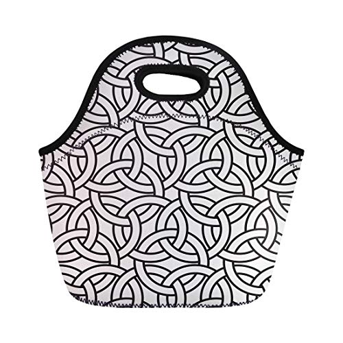 - Semtomn Neoprene Lunch Tote Bag Antique Abstract Intersecting Rings Geometric Monochrome Celtic Twisted Grid Reusable Cooler Bags Insulated Thermal Picnic Handbag for Travel,School,Outdoors,Work