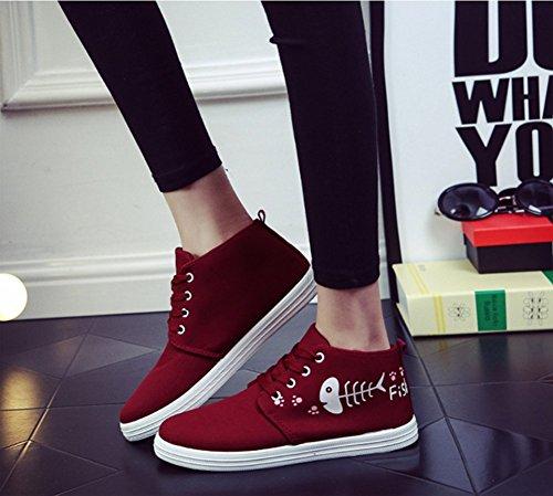 D-sun Fille Étudiants Chat Toile Plate Chaussures Mode Sneakers Rouge
