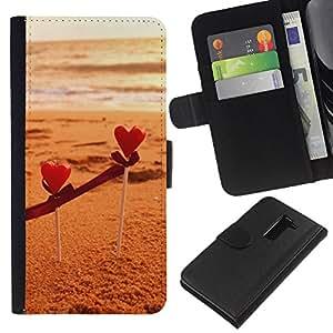 WINCASE Cuadro Funda Voltear Cuero Ranura Tarjetas TPU Carcasas Protectora Cover Case Para LG G2 D800 - color beige arena marrón playa verano