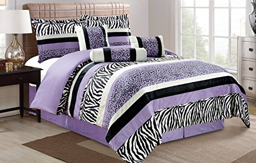 7 Piece Oversize Light PURPLE Black White Zebra Leopard Micro Fur Comforter Set King Size Bedding 104